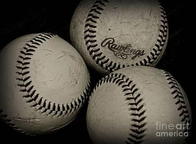 Old Baseballs Print by Paul Ward