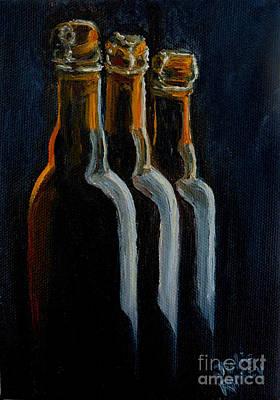 Beer Oil Painting - Old Beer Bottles by Julie Brugh Riffey