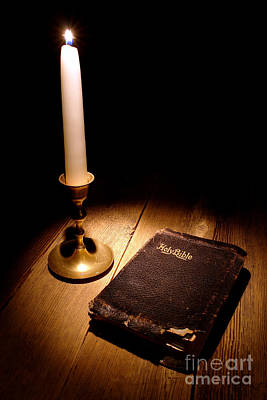 Christian Sacred Photograph - Old Bible And Candle by Olivier Le Queinec