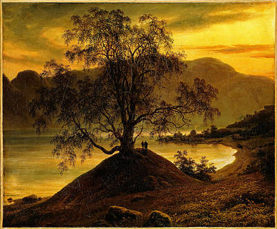 Tree At Sunset Painting - Old Birch Tree At The Sognefjord by Thomas Fearnley