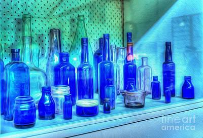 Old Blue Bottles Print by Kaye Menner