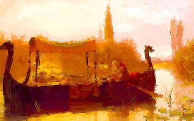 Beach Painting - Old Boatman by VRL Art