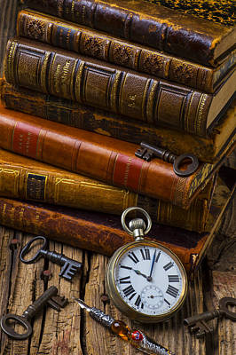 Pen Photograph - Old Books And Pocketwatch by Garry Gay
