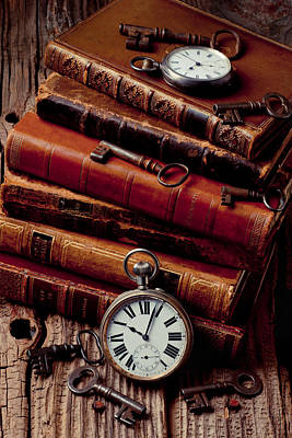 Old Books And Watches Print by Garry Gay