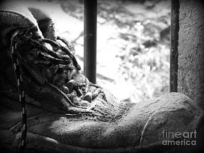 Mens Shoe Photograph - Old Boots by Clare Bevan