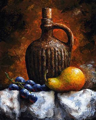 Pear Mixed Media - Old Bottle And Fruit II by Emerico Imre Toth