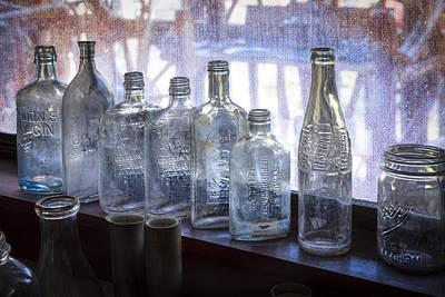 Curios Photograph - Old Bottles by Debra and Dave Vanderlaan