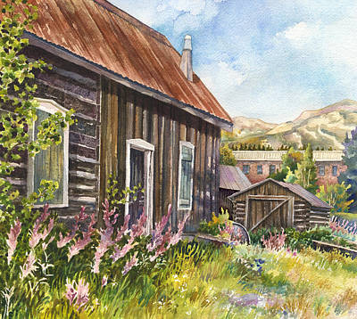 Old Cabins Painting - Old Breckenridge by Anne Gifford