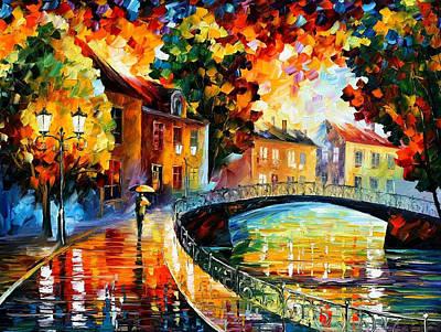 Old Bridge - Palette Knife Oil Painting On Canvas By Leonid Afremov Original by Leonid Afremov