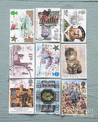 Mail Photograph - Old British Postage Stamps by Jan Bickerton