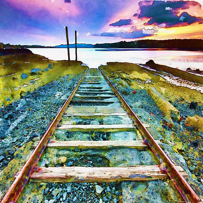 The View Mixed Media - Old Broken Railway Track Watercolor by Marian Voicu