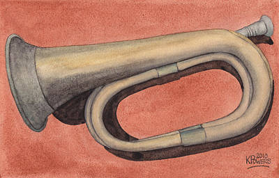 Trumpet Painting - Old Bugle by Ken Powers