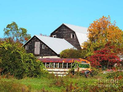Old Bus And Barns Print by Linda Marcille