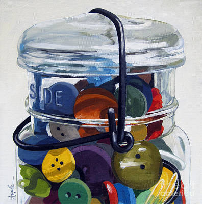 Old Button Jar Print by Linda Apple