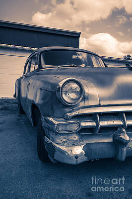 Old Car In Front Of Garage Print by Edward Fielding