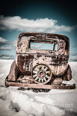Old Car In The Snow Print by Edward Fielding