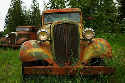 Old Cars Left To Decorate The Weeds Print by Jeff Swan