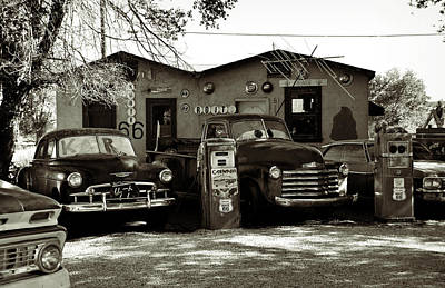 Sepia Photograph - Old Cars On Route 66 by RicardMN Photography