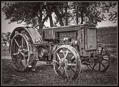 Keck Photograph - Old Case Gas Tractor - B And W by F Leblanc