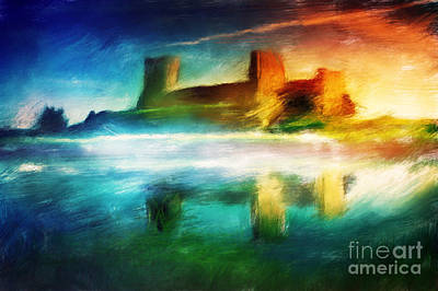 Ancient Painting - Old Castle Painting Magical Sunset by Michal Bednarek