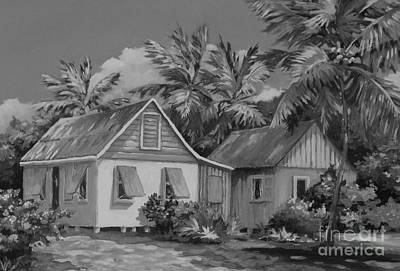 Old Cayman Cottages Monochrome Print by John Clark