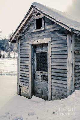Country Scenes Photograph - Old Chicken Coop Etna New Hampshine In The Winter by Edward Fielding