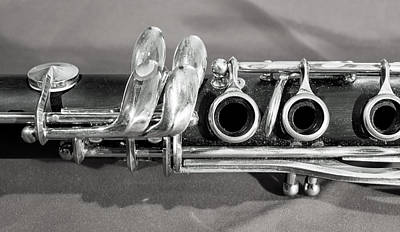 Marching Band Photograph - Old Clarinet Black And White by Photographic Arts And Design Studio
