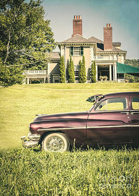 Purple Car Photograph - 1951 Mercury Sedan In Front Of Large Mansion by Edward Fielding