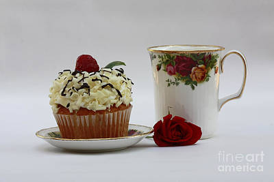 Old Country Rose And Raspberry Cupcake Delight Print by Inspired Nature Photography Fine Art Photography