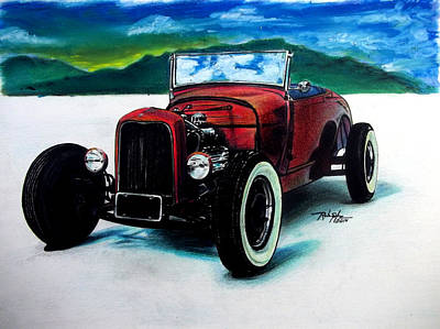 Muscle Car Drawings Painting - Old Coupe by Rob Spitz