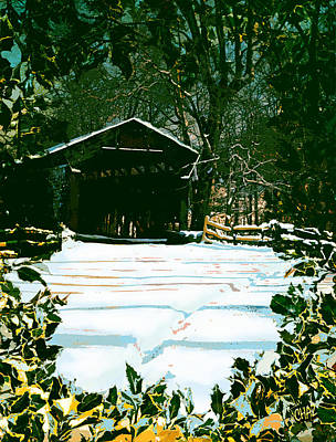 Covered Bridge Painting - Old Covered Bridge In The Valley  by CHAZ Daugherty