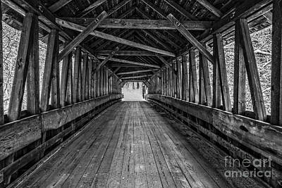 Classic New England Barns Photograph - Old Covered Bridge Winter Interior by Edward Fielding