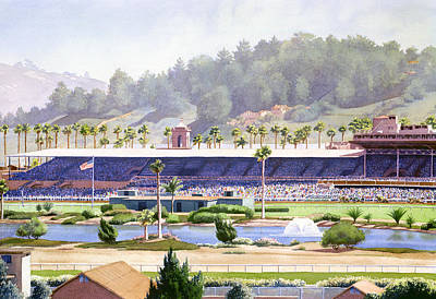 Race Painting - Old Del Mar Race Track by Mary Helmreich
