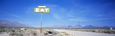 Old Diner Sign, Highway 395 Print by Panoramic Images