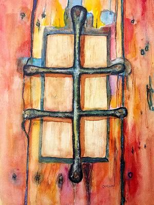 Old Door Grille Speakeasy Peephole Original by Carlin Blahnik