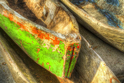 Dugout Photograph - Old Dug-out Canoes by Debra and Dave Vanderlaan