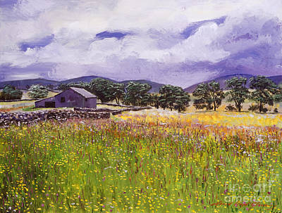 Meadow Painting - Old English Farm House by David Lloyd Glover