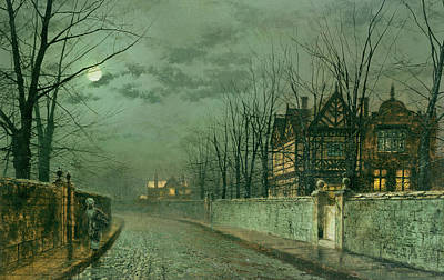 Old English House, Moonlight Print by John Atkinson Grimshaw