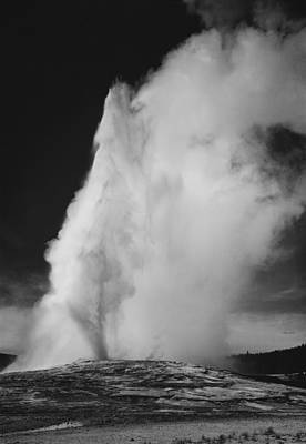 Geyser Digital Art - Old Faithful Geyser Yellowstone National Park Wyoming by Ansel Adams