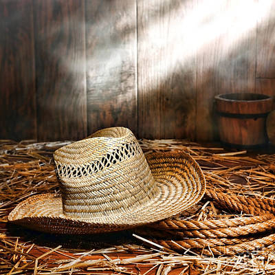 Loose Style Photograph - Old Farmer Hat And Rope by American West Decor By Olivier Le Queinec