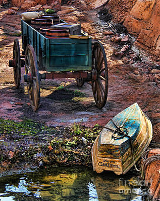 Old Fashion Cart And Boat  Print by Lee Dos Santos