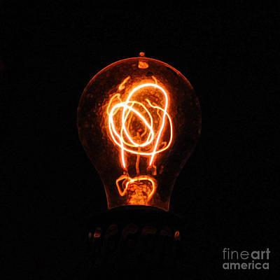 Old Fashioned Edison Lightbulb Filaments Macro Accented Edges Digital Art Print by Shawn O'Brien