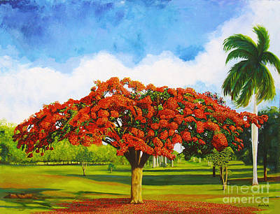 Flamboyan Tree Painting - Old Flamboyan by Jose Manuel Abraham