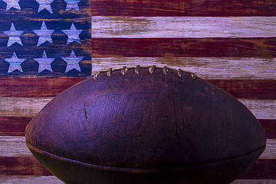 Folk Art American Flag Photograph - Old Football With Flag by Garry Gay