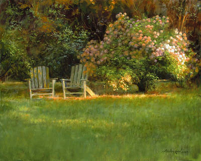 Lawn Chairs Painting - Old Friends by David Henderson
