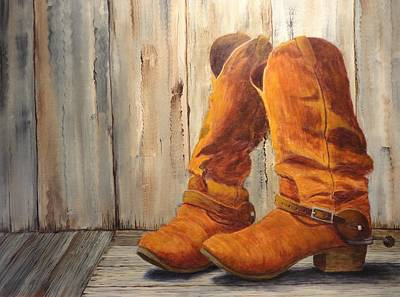 Rodeo Clown Painting - Old Friends by Xochi Hughes Madera