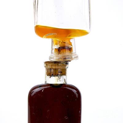 Old Glass Bottles With Corks Print by Bernard Jaubert