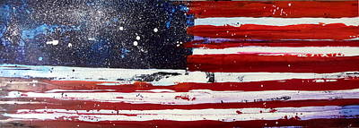 Star Spangled Banner Mixed Media - Old Glory Beneath The Stars by Charles Jos Biviano