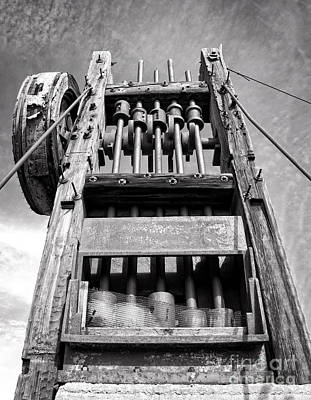 Old Gold Mine Technology In Black And White Print by Lee Craig