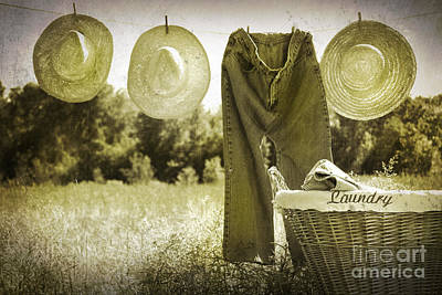 Old Grunge Photo Of Jeans And Straw Hats  Print by Sandra Cunningham